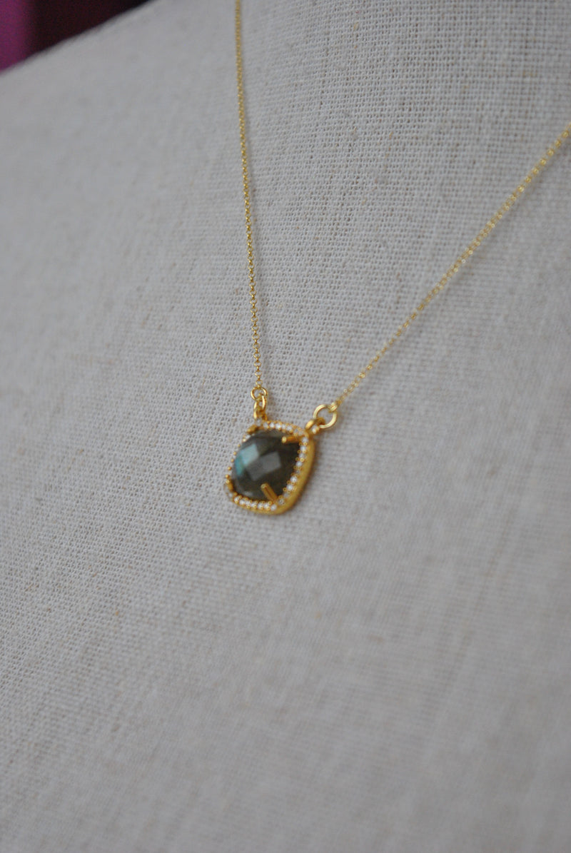 LABRADORITE CUBE ON GOLD DELICATE NECKLACE