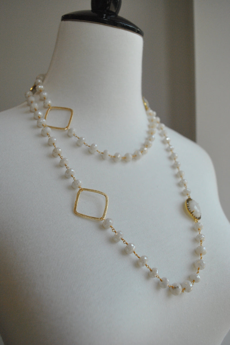 MYSTIC MOONSTONE ON 14KT GOLD LONG KASHMERE NECKLACE