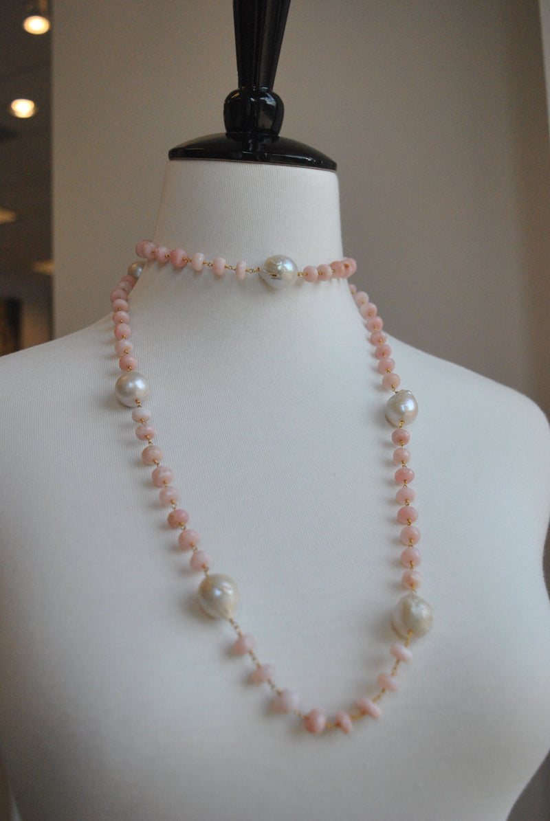 PINK PERUVIAN OPAL AND JUMBO FRESHWATER PEARLS LONG KASHMERE NECKLACE