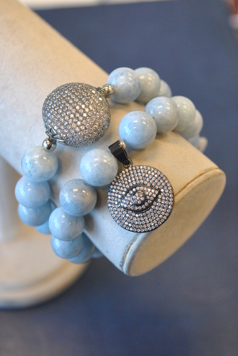 BLUE AQUAMARINE AND RHINESTONES WITH ANGEL EYE CHARM STATEMENT BRACELETS SET