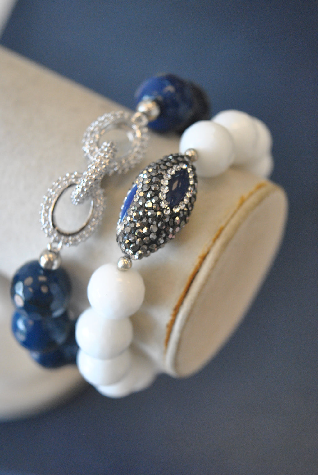 WHITE AND ROYAL BLUE AGATE WITH RHINESTONES AND SWAROVSKI CRYSTALS STATEMENT BRACELETS SET