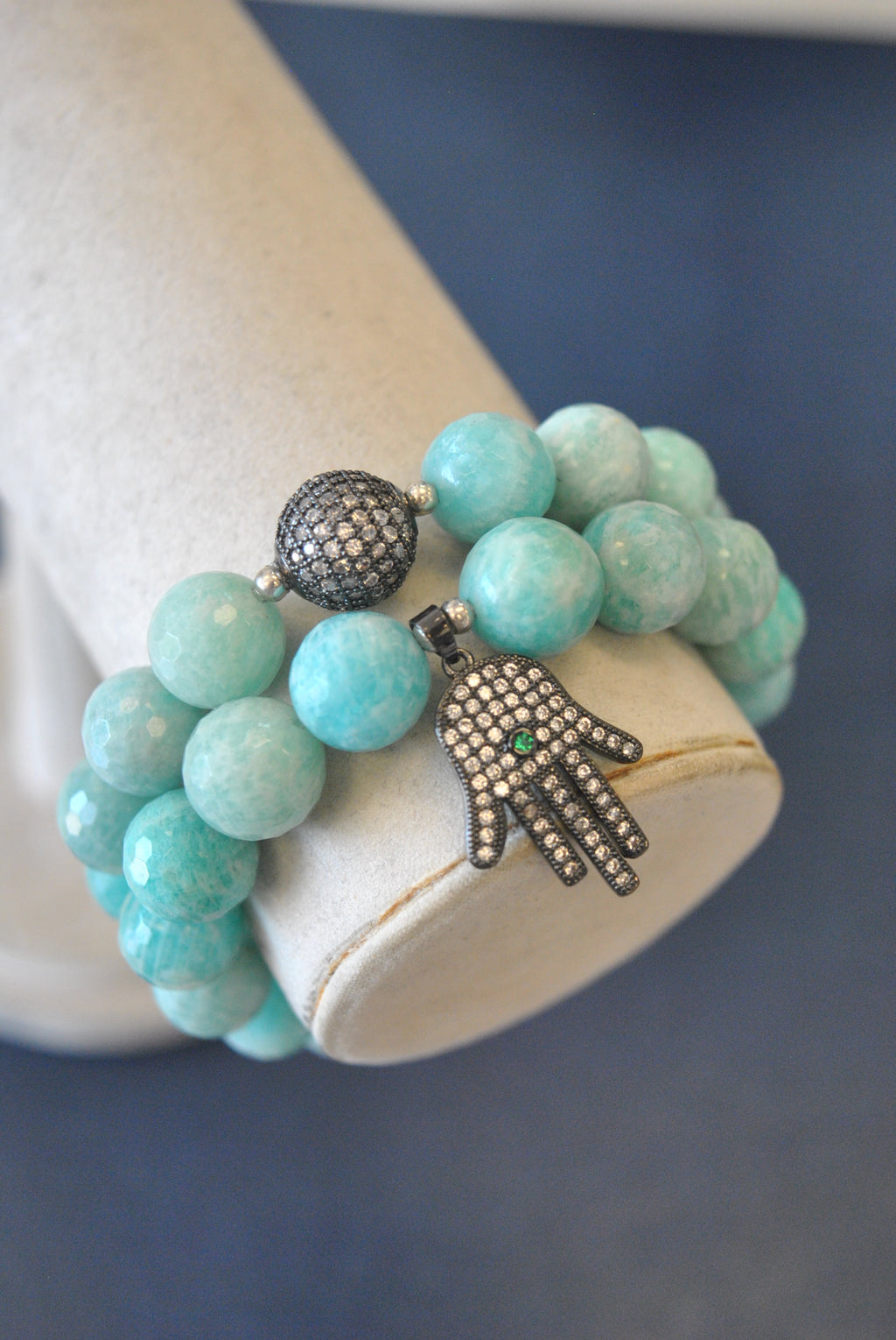 MINT AMAZONITE AND RHINESTONES STATEMENT BRACELETS SET