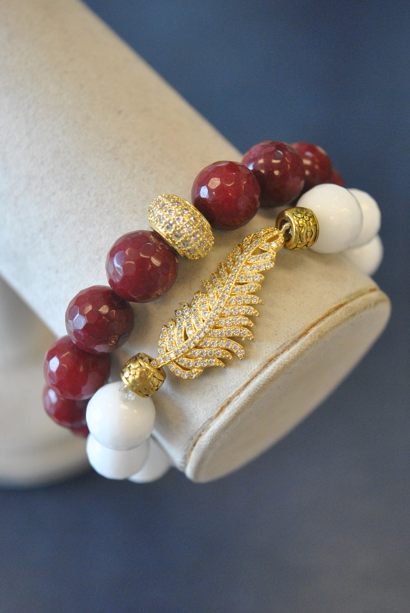AGATE AND RUBY JADE STATEMENT BRACELETS SET