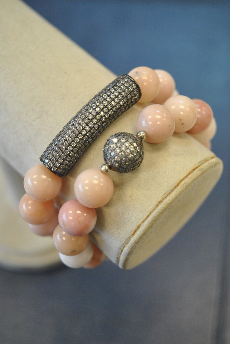 PINK PERUVIAN OPAL STRETCHY STATEMENT BRACELETS SET