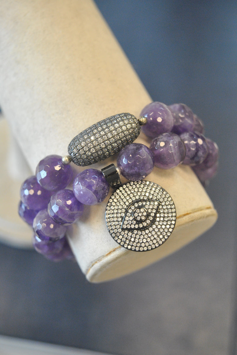 AMTHYST AND RHINESTONES STRETCHY STATEMENT BRACELET SET