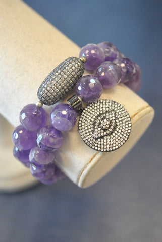 AMETHYST AND CRYSTALS STRECHY BRACELET