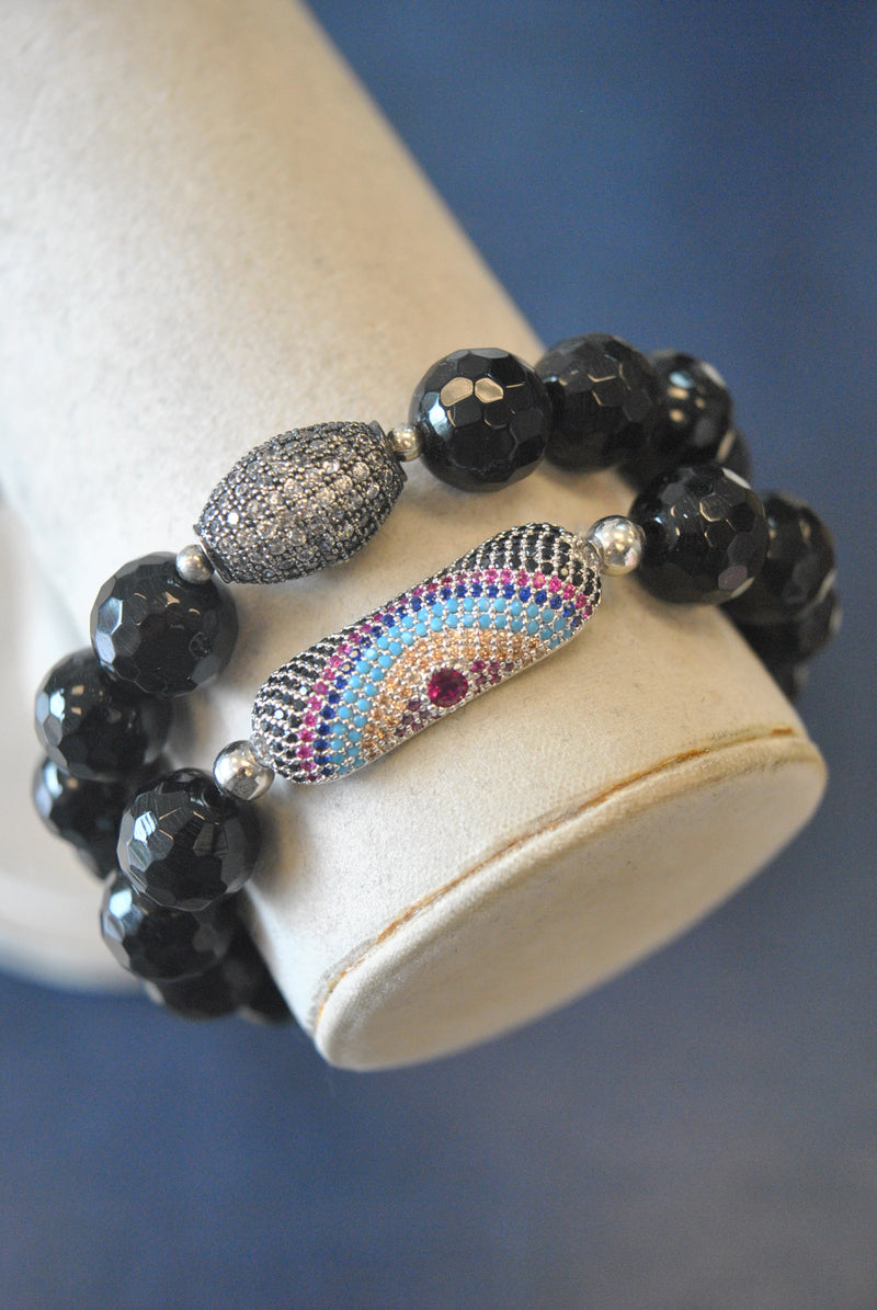 BLACK ONYX AND ANGEL EYE CHARM STRETCHY STATEMENT BRACELET SET
