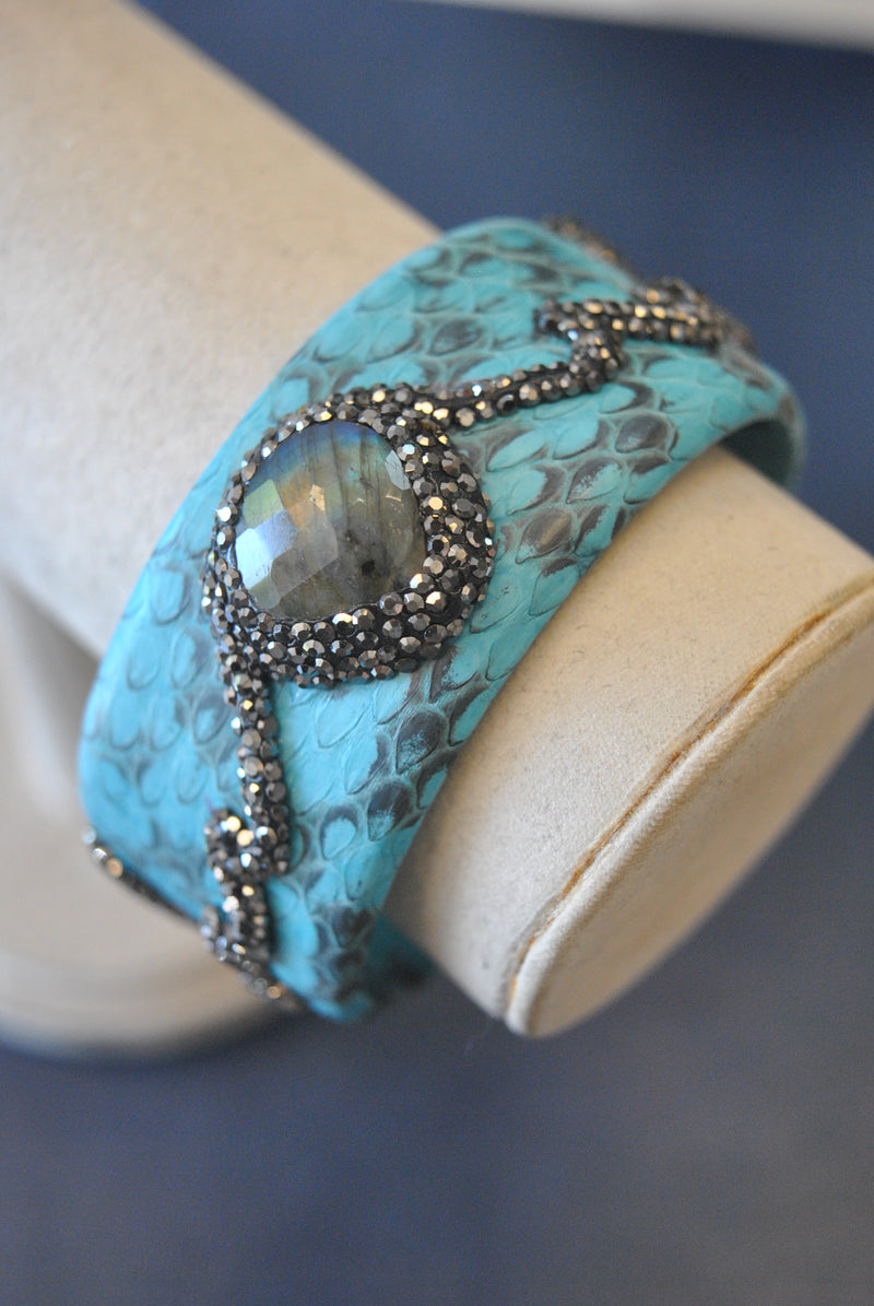 LEATHER COLLECTION - TURQUOISE LEATHER AND LABARDAORITE WITH SWAROVSKI CRYSTALS CUFF BRACELET