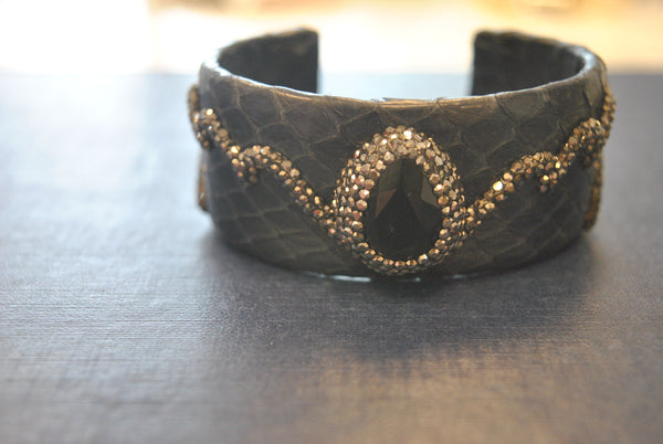 LEATHER COLLECTION - NAVY BLUE LEATHER AND BLACK ONYX WITH SWAROVSKI CRYSTALS CUFF BRACELET