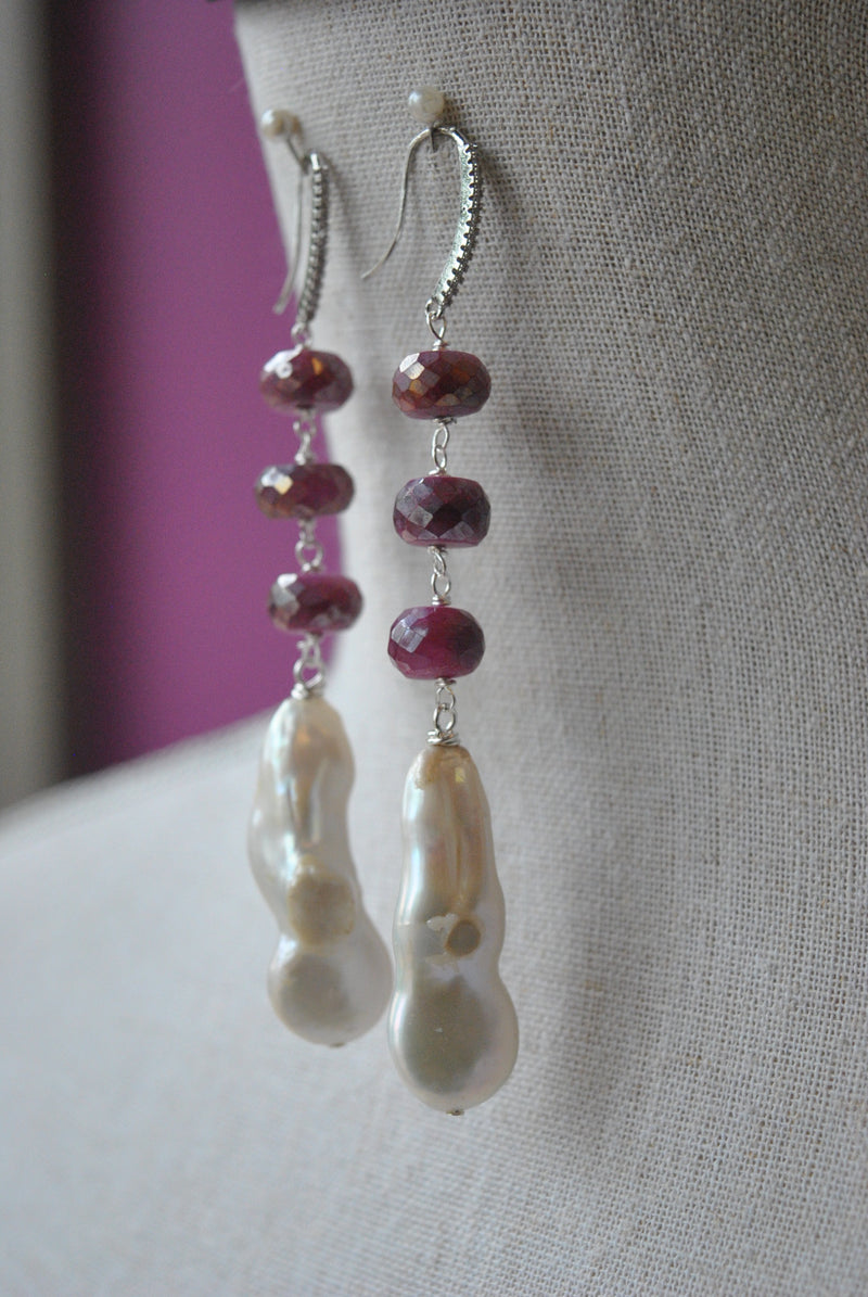 RUBY MOONSTONE AND WHITE FRESHWATER PEARLS LONG STATEMENT EARRINGS