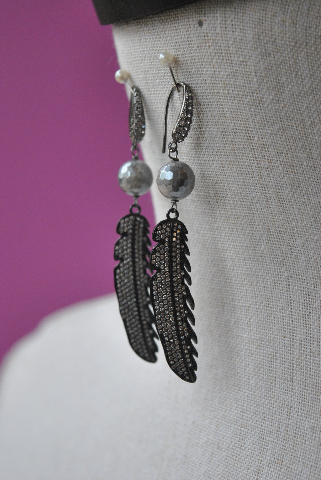 GREY MOONSTONES BLACK FINISH RHINESTONES FEATHERS STATEMENT EARRINGS