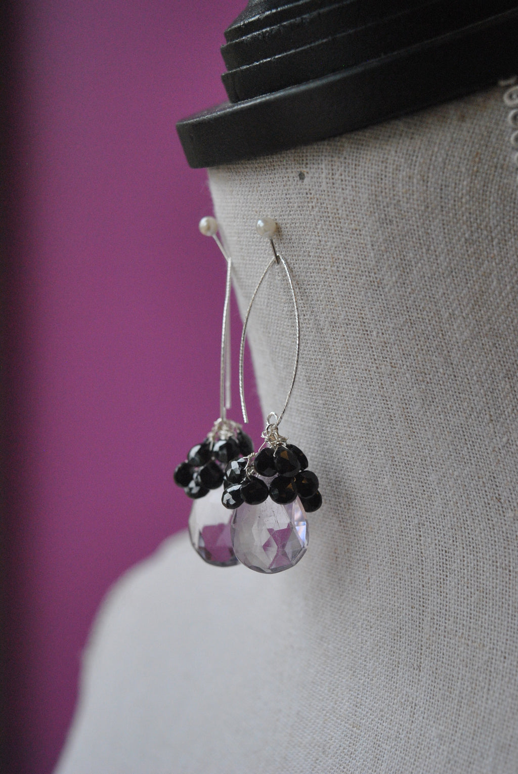 LAVENDER AMETHYST AND BLACK SPINEL LONG STATEMENT EARRINGS