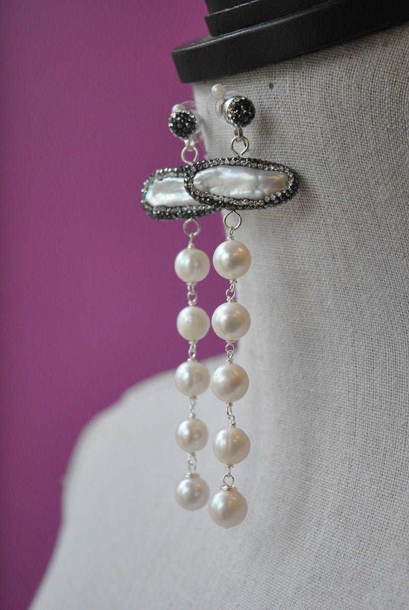 WHITE FRESHWATER PEARLS AND SWAROVSKI CRYSTALS LONG STATEMENT EARRINGS