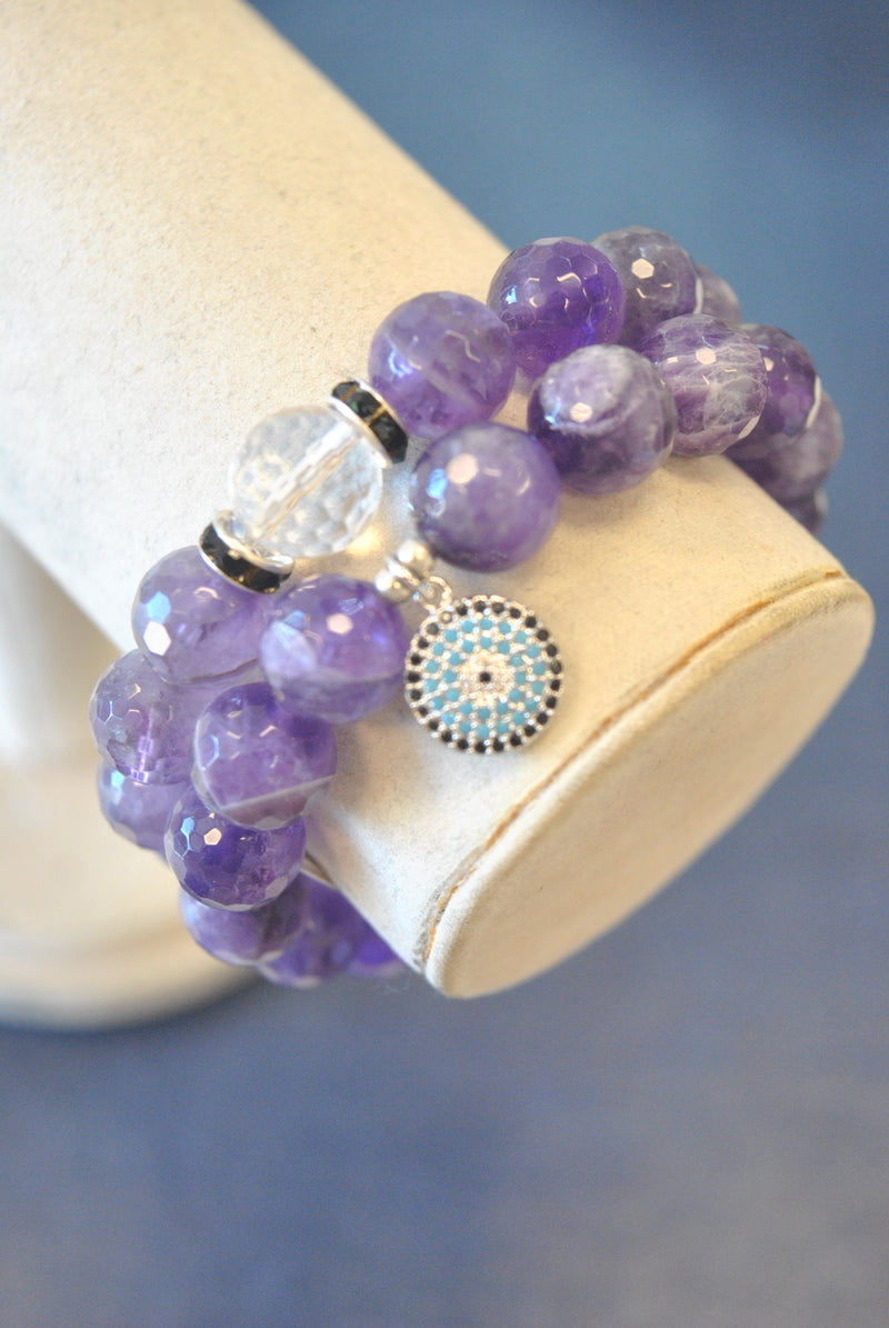 AMETHYST, LEATHER AND SWAROVSKI CRYSTALS STRETCHY BRACELETS SET