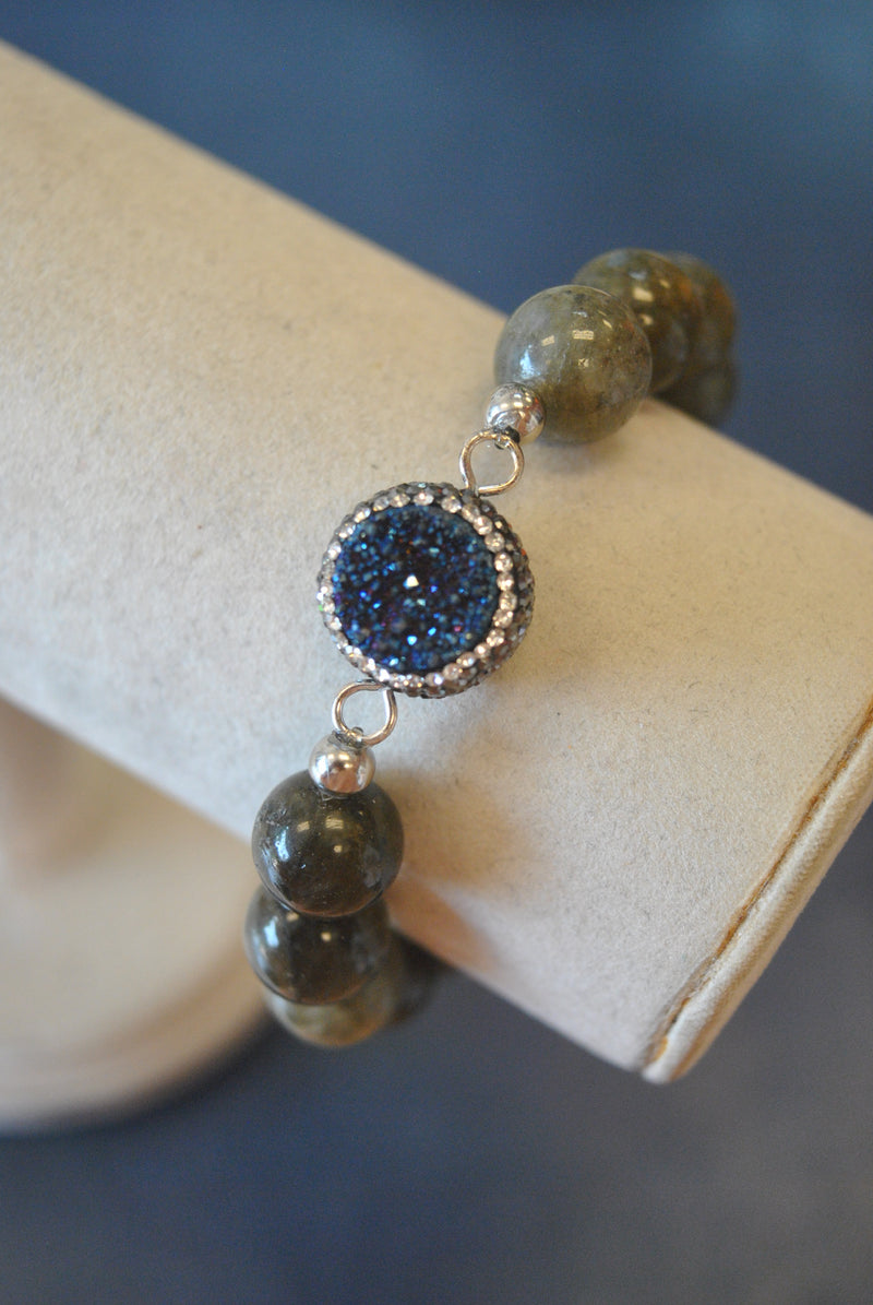 LABRADORITE AND ROYAL BLUE DRUZY WITH SWAROVSKI CRYSTALS STRETCHY STATEMENT BRACELET
