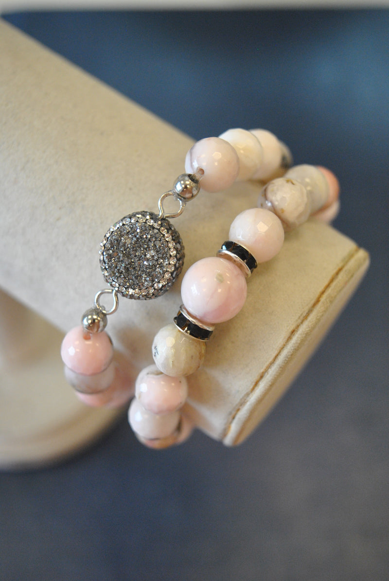 PINK PERUVIAN OPAL MOTHER OF PEARL DRUZY AND SWAROVSKI CRYSTALS STRETCHY BRACELETS SET