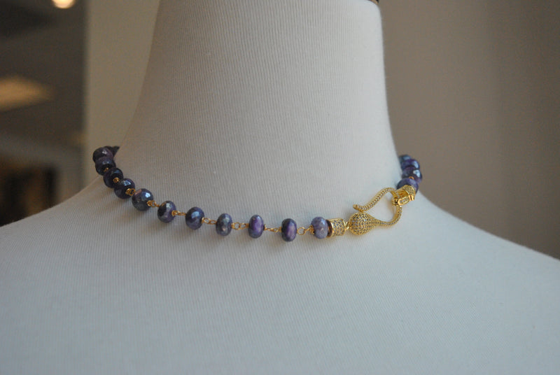 PURPLE MOONSTONE AND DRUZY WRAP BRACELET OR A CHOKER