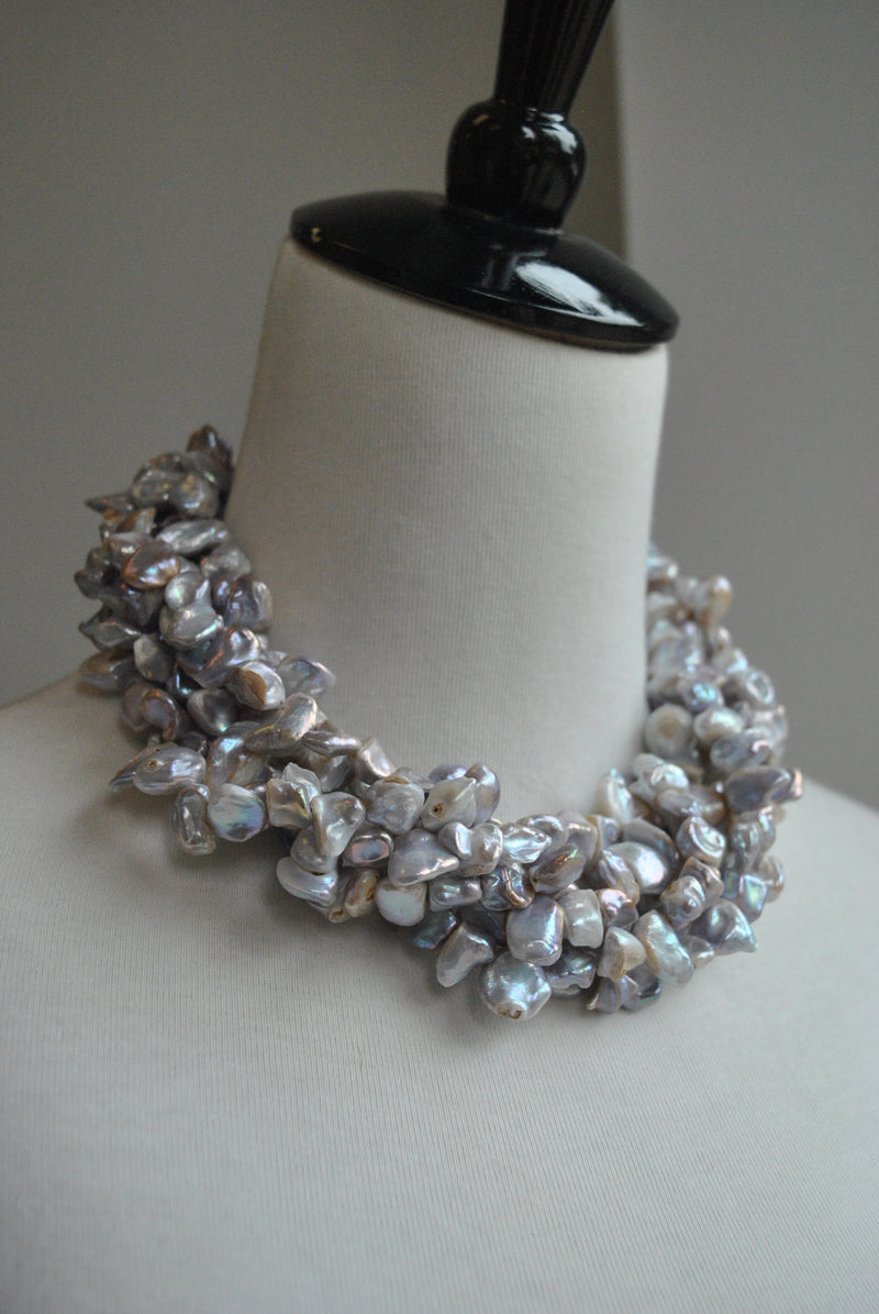 SILVER FRESHWATER PEARL MULTISTRAND STATEMENT NECKLACE