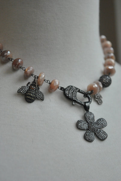 PEACH MOONSTONE ON GUNMETAL FINISH CHARM DOUBLE BRACELET OR A CHOKER