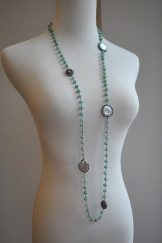 MULTI COLOR TOURMALINES AND OVERSIZE CLASP WITH RHINESTONES SIMPLE NECKLACE