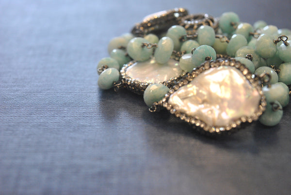 AMAZONITE AND WHITE MOTHER OF PEARLS ON GUNMETAL FINISH LONG KASHMERE NECKLACE