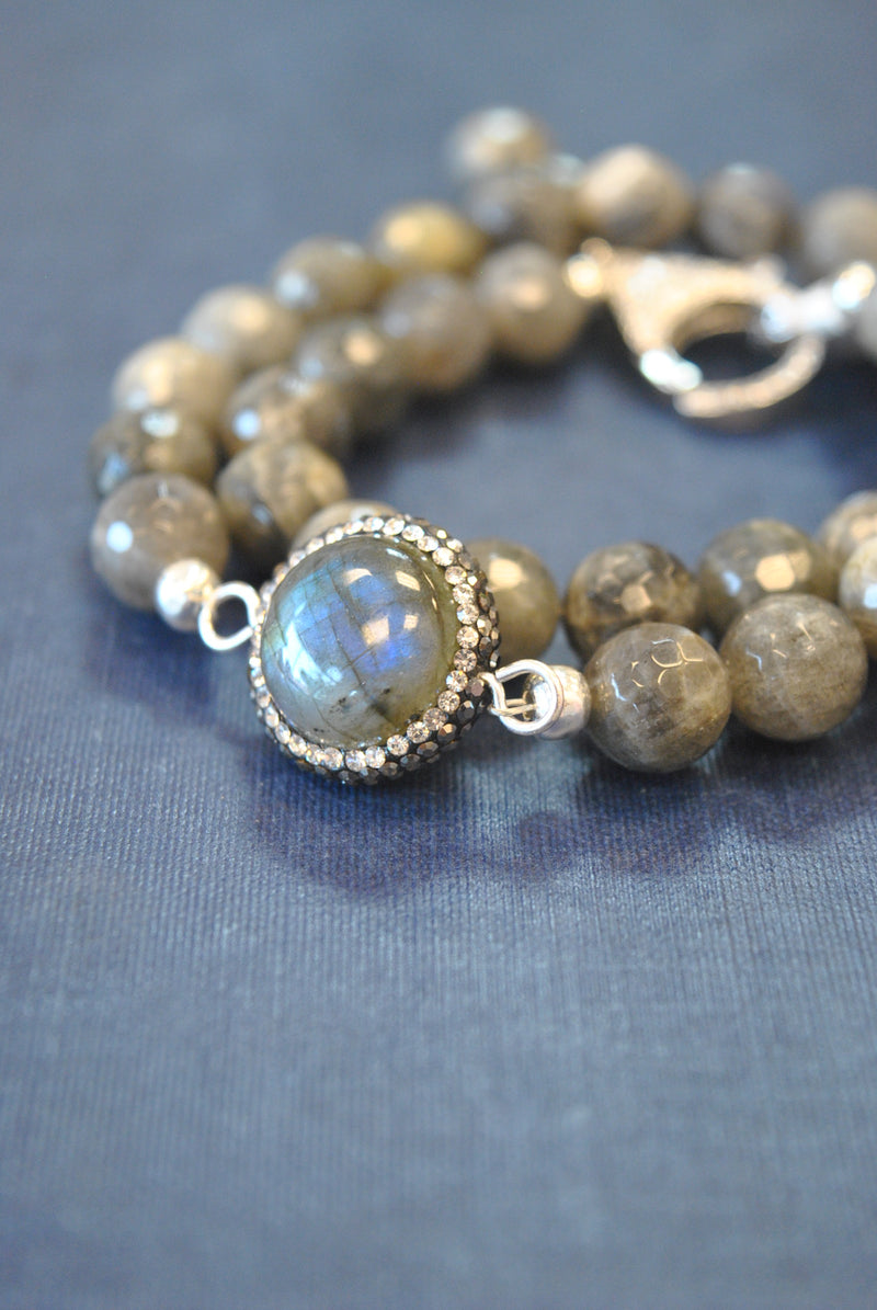 LABRADORITE AND SWAROVSKI CRYSTALS WRAP BRACELET OR A CHOKER
