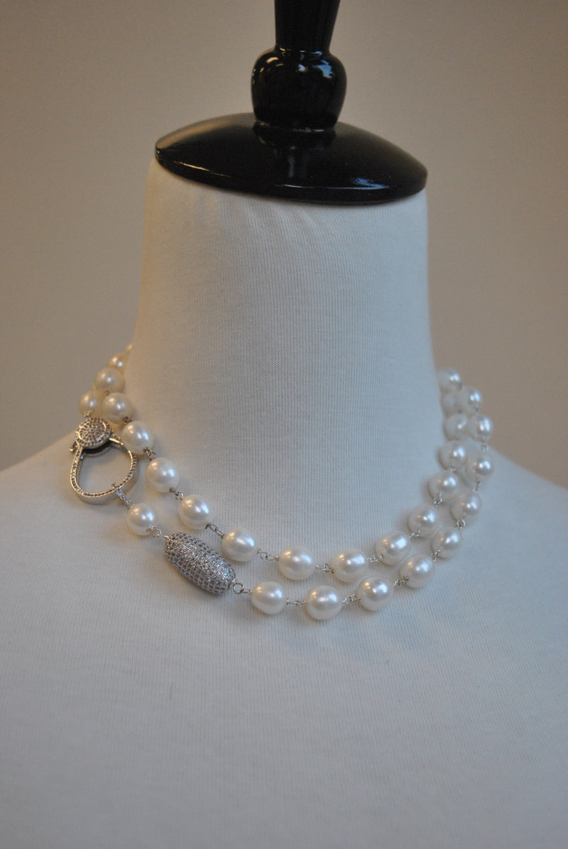 WHITE FRESHWATER PEARLS DROP STATAEMENT NECKLACE 3 IN 1