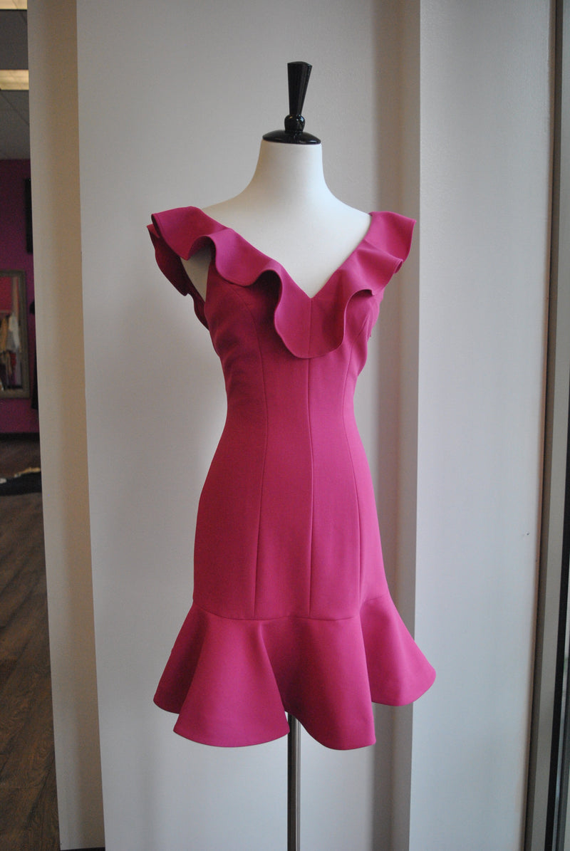 FUSCHIA PINK MINI DRESS WITH RUFFLES