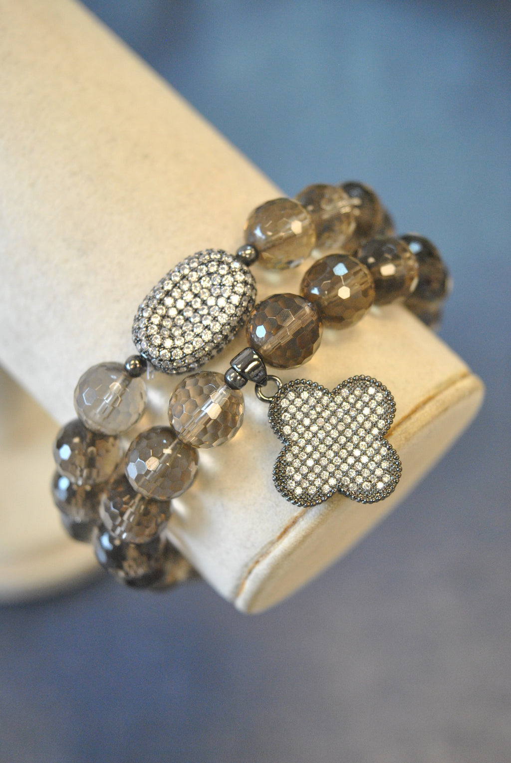 SMOKY QUARTZ STRETCHY BRACELET SET WITH CHARMS