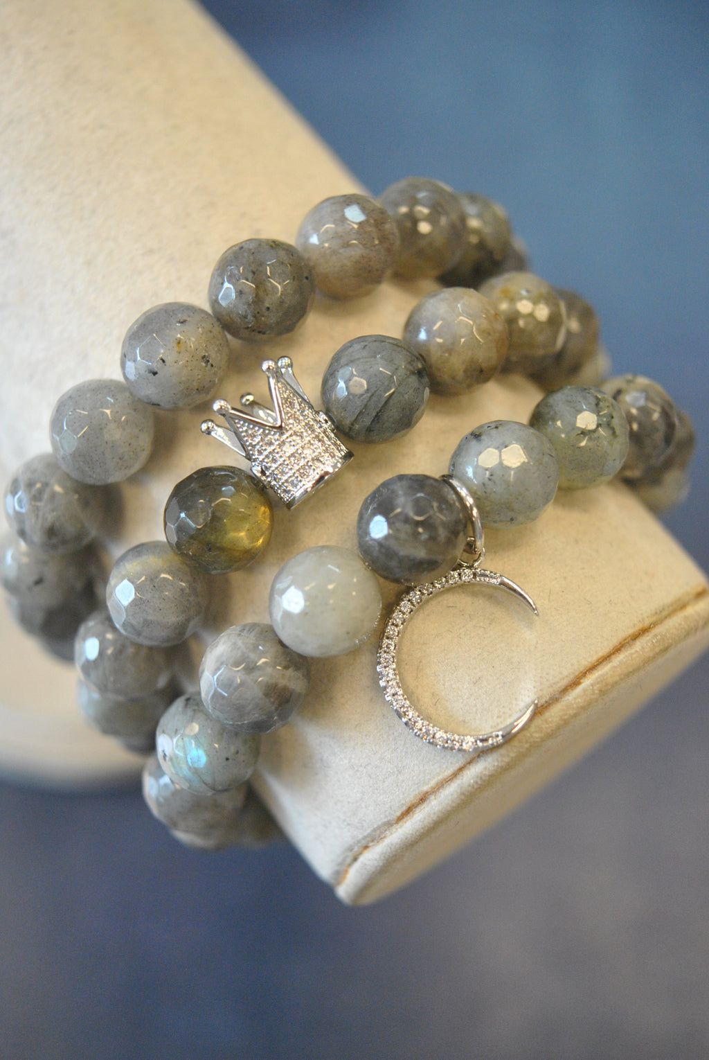 PRINCESS ON THE MOON - NATURAL LABRADORITE STRETCHY BRACELETS SET