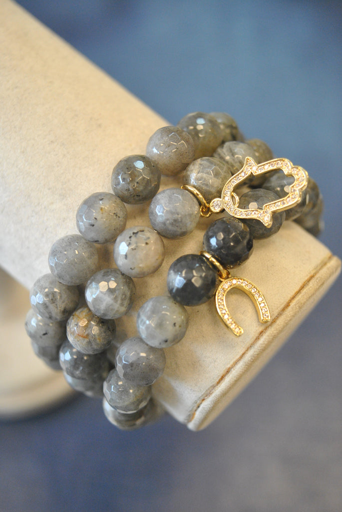 NATURAL LABRADORITE WITH GOLD CHARMS STRETCHY BRACELETS SET