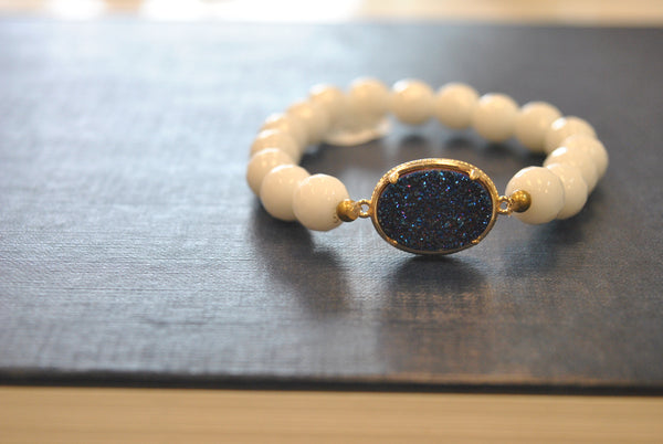 BLUE AGATE AND WHITE ONYX WITH DRUZY STRETCHY BRACELETS SET