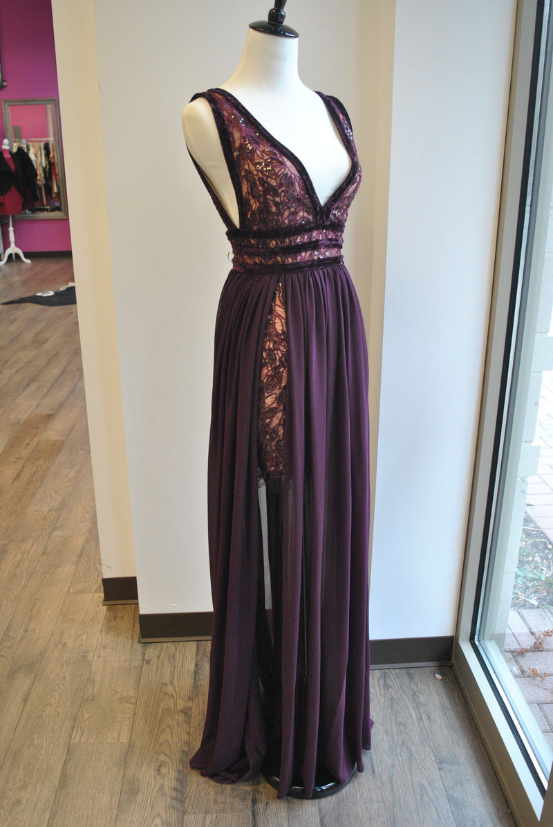 PLUM COLOR LONG DRESS WITH
