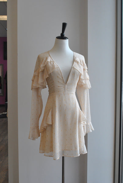 BEIGE AND GOLD A-LINE DRESS WITH RUFFLE DEATILS