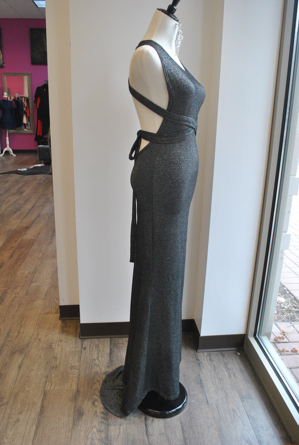 BLACK AND SILVER LONG DRESS WITH OPEN BACK