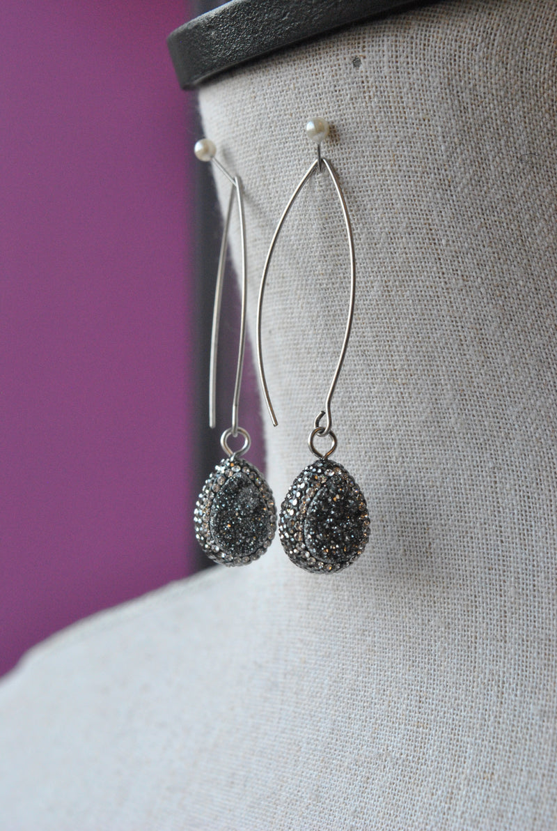 SILVER DRUZY AND SWAROVSKI CRYSTALS LONG STATEMENT EARRINGS