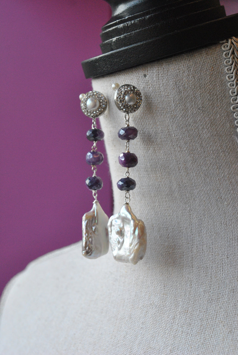 WHITE FRESHWATER PEARLS AND PURPLE MOONSTONE LONG STATEMENT EARRINGS