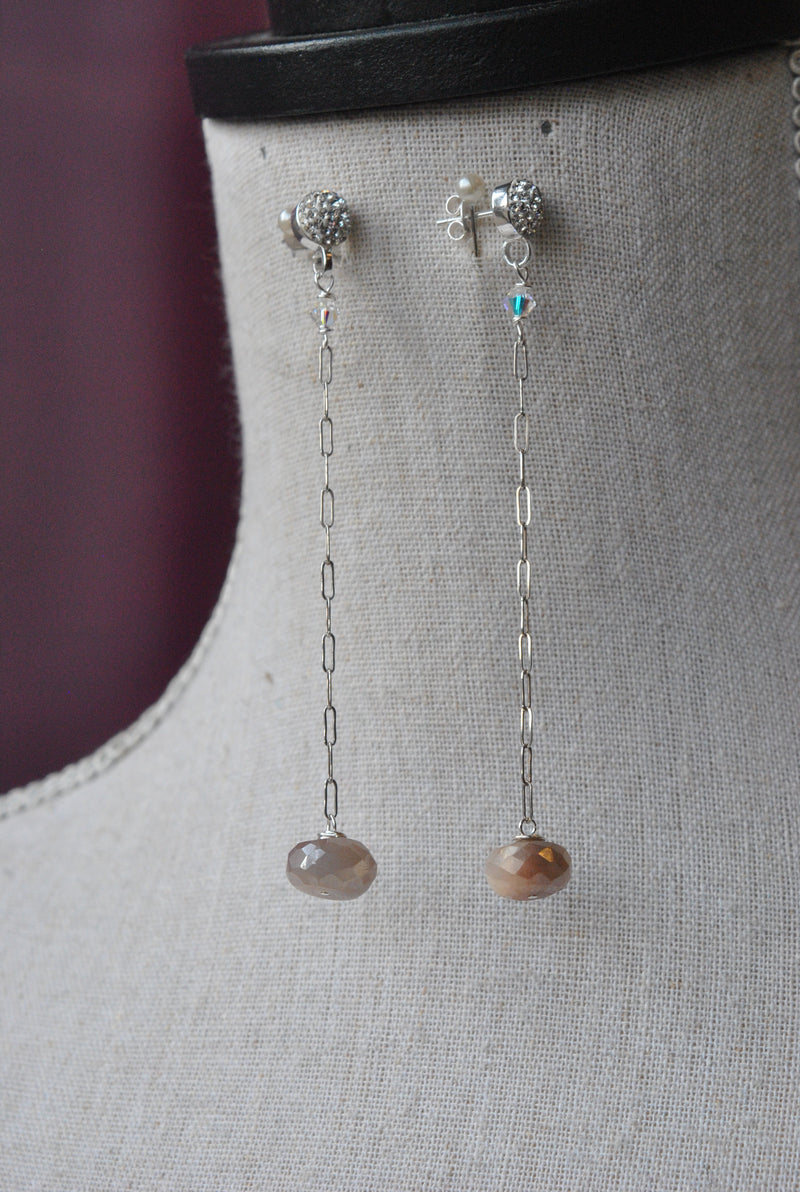 PEACH MOONSTONES DROP DELICATE EARRINGS