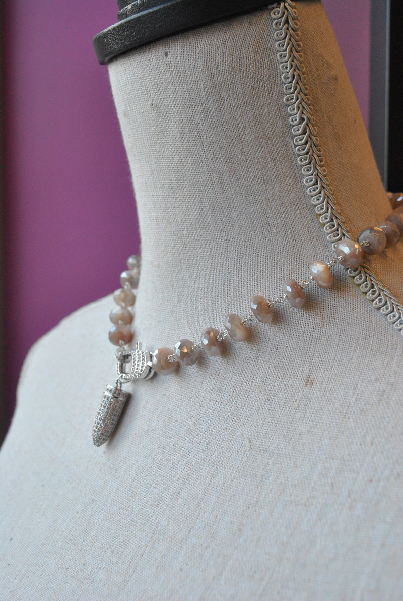 PEACH MOONSTONES CHOKER STYLE NECKLACE WITH DETACHABLE CHARM / DOUBLE BRACELET