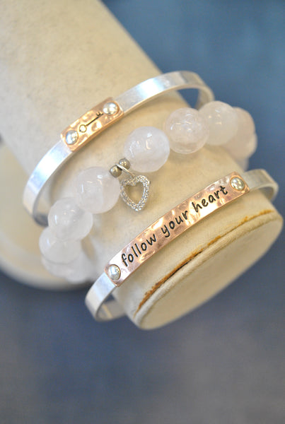 "3 PIECES INSPIRATIONAL SET - ROSE QUARTZ - ""FOLLOW YOUR HEART"""
