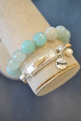BLUE LACE AGATE WITH BLACK DRUZY CHARM STRETCHY BRACELETS SET