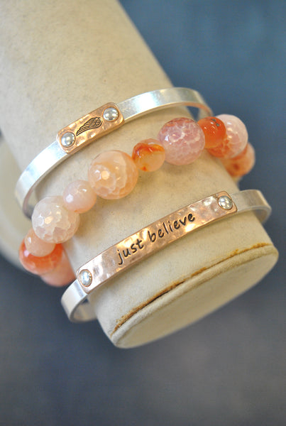 "3 PIECES INSPIRATIONAL SET - AGATE - ""JUST BELIEVE"""