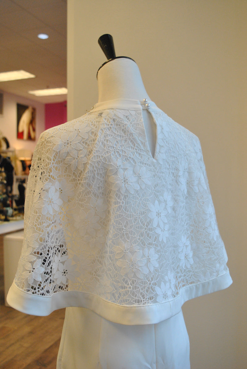WHITE DRESS WITH LACE CAPE SLEEVES