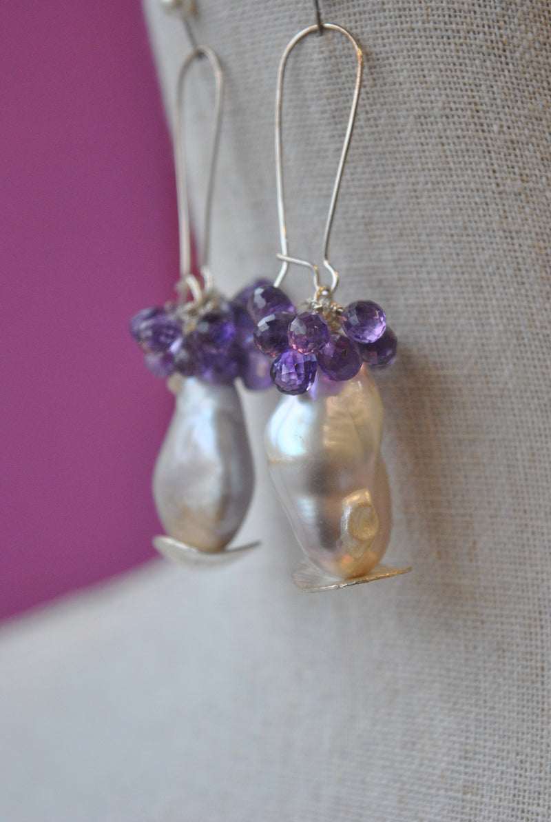 AMETHYST DROPS AND FRESHWATER JUMBO PEARLS LONG STATEMENT EARRINGS