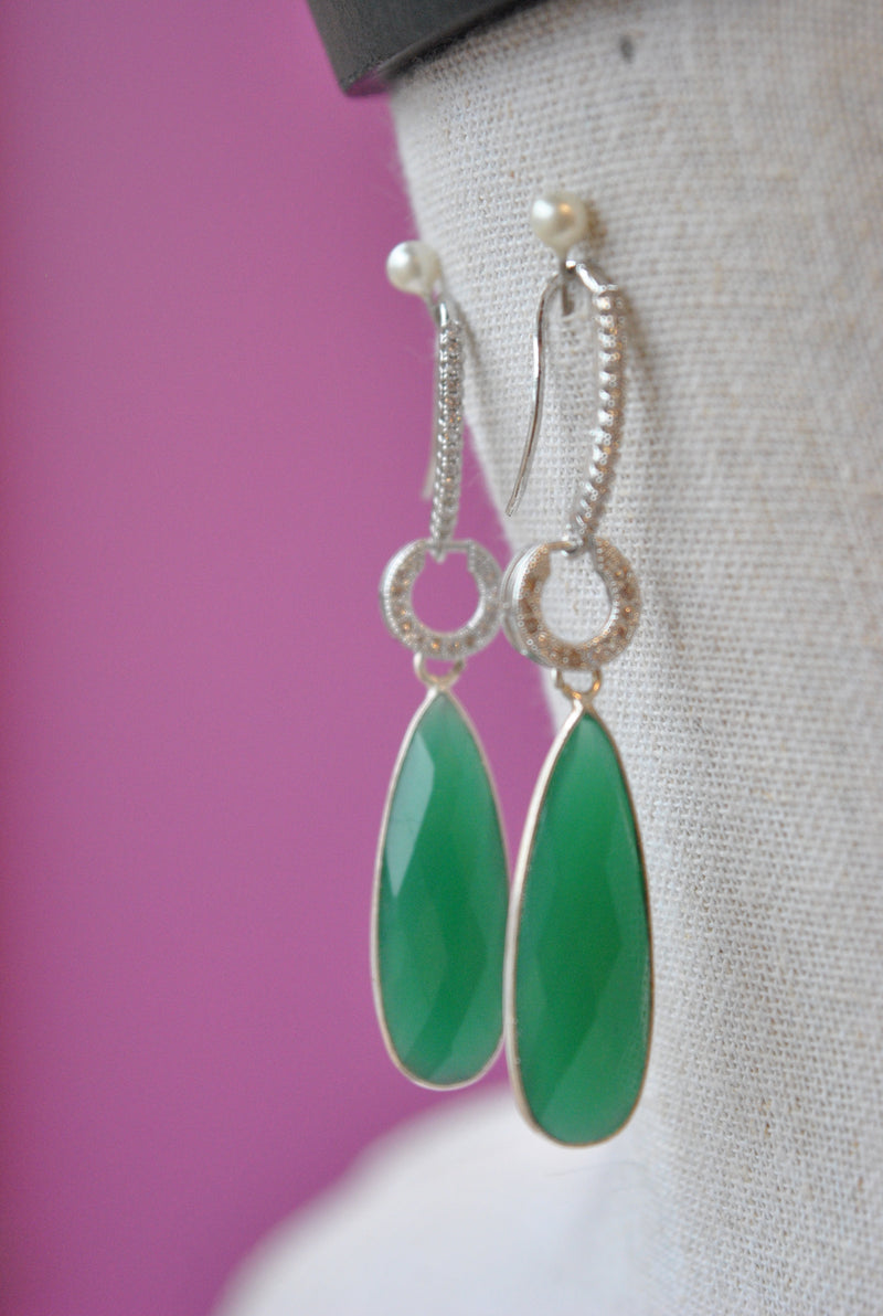 GREEN ONYX TEARDROPS AND RHINESTONES LONG EARRINGS