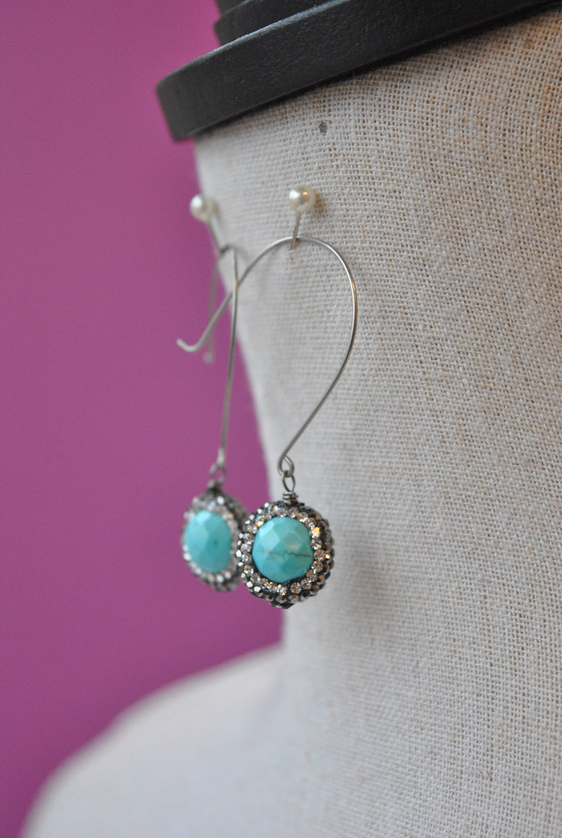 TURQUOISE HOWLITE AND SWAROVSKI CRYSTALS LONG EARRINGS