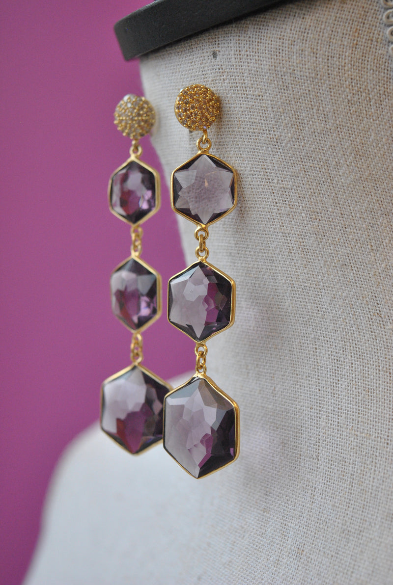 AMETHYST LONG STATEMENT EARRINGS