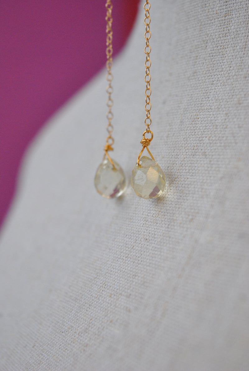CITRINE TEARDROPS LONG DELICATE EARRINGS