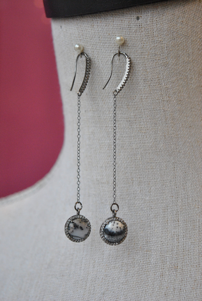 WHITE AND BLACK MOSS AGATE DROP LONG EARRINGS