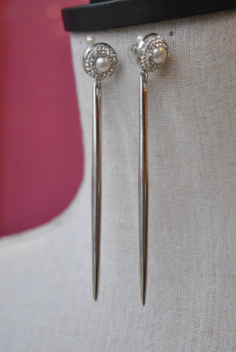 WHITE FRESHWATER PEARLS AND SWAROVSKI CRYSTALS SPIKES LONG EARRINGS